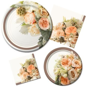 Rose Gold Bouquet Paper Plates & Napkins