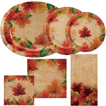 Rustic Leaves Paper Plates & Napkins