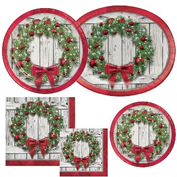 Christmas Paper Plates And Napkins.Rustic Wreath Party At Lewis Elegant Party Supplies