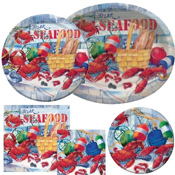 Sea Food Celebration Paper Plates & Napkins