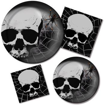 skull terror paper plates napkins
