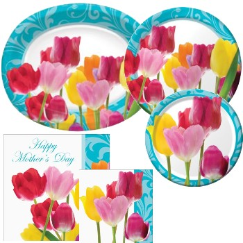 Spring Time Mothers Day Paper Plates & Napkins