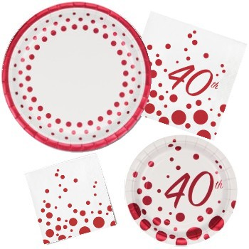 Shop for Sparkle and Shine Ruby 40th Anniversary  sc 1 st  Party at Lewis & 40th Anniversary Paper Plates and Napkins - Party at Lewis