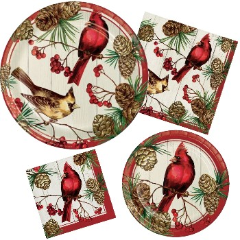 Winter Cardinal Paper Plates u0026 Napkins  sc 1 st  Party at Lewis : holiday paper plates and napkins - pezcame.com