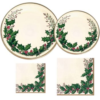 Winter Holly Paper Plates & Napkins